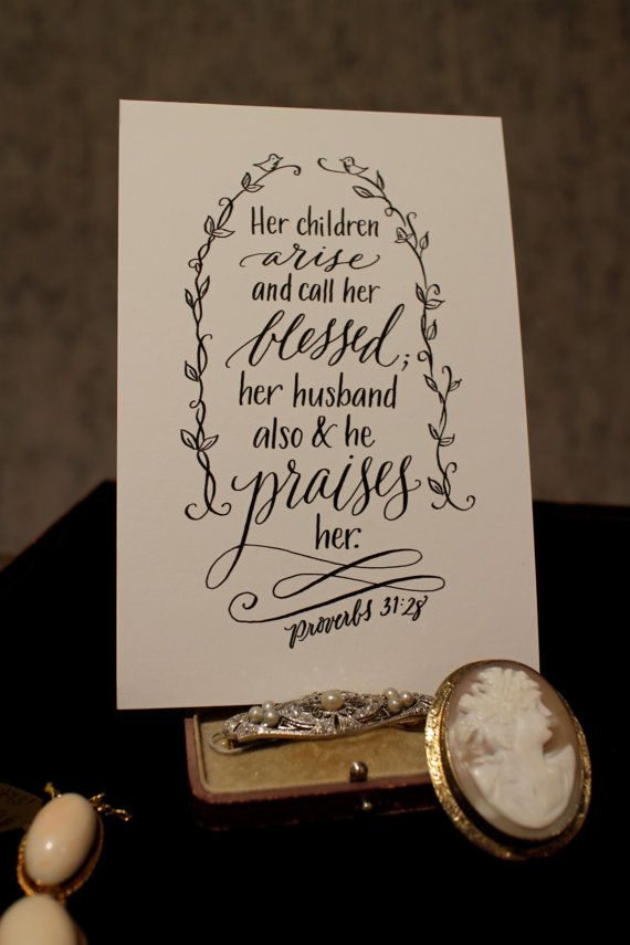 Proverbs 31:28 - Hand-Lettered Scripture Print - Bella ...