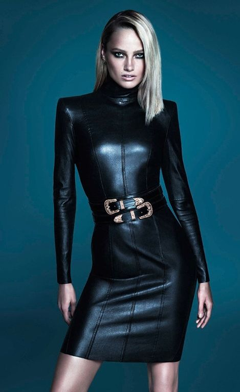 Karmen Pedaru by Mert Alas & Marcus Piggott for İpekyol FW 2014 ad campaign | black leather short dress