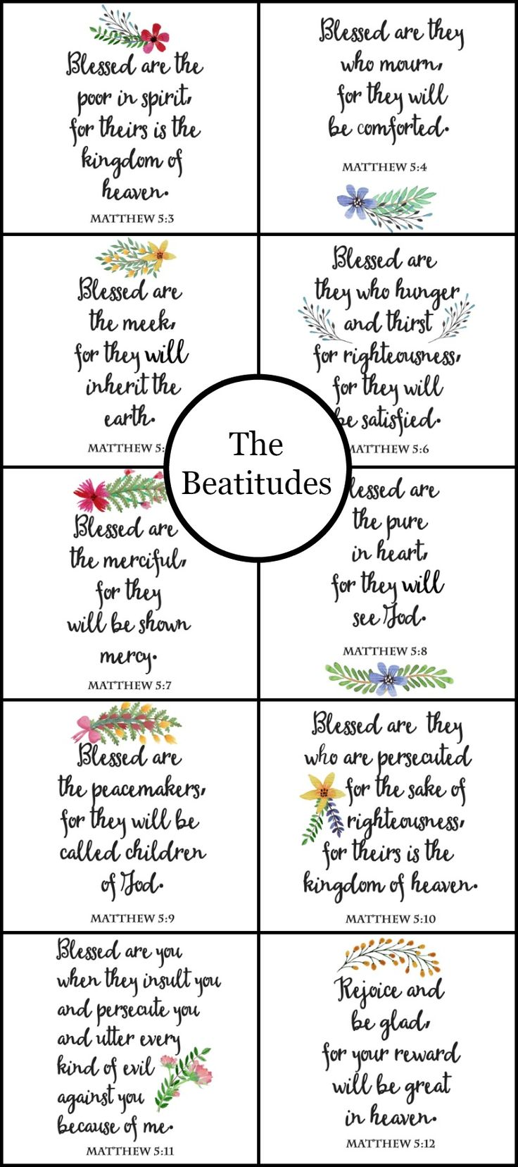 The Beatitudes Printable Wall Art and Cards. Set of 10 printables featuring The Beatitudes from Matthew Chapter 5. Perfect for DIY wall art, gallery wall, cards, banners.