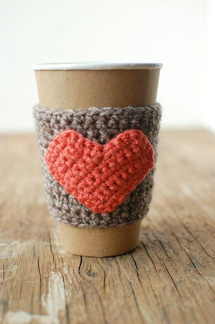 Natural coffee cup cozy with pumpkin colored heart by The Cozy Project. $16.00, via Etsy.