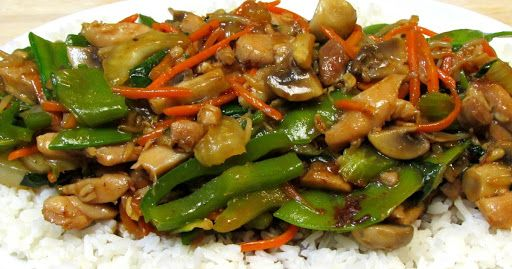 Chop Suey Recipe - Chicken Chop Suey With Chicken Thighs, Shaoxing, Oyster Sauce, Corn Starch, Vegetable Oil, Garlic, Celery Ribs, Bok Choy, Bell Pepper, Green Onions, Snow Peas, Mushrooms, Carrots, Salt, White Pepper, Chicken Broth, Oyster Sauce, Corn Starch