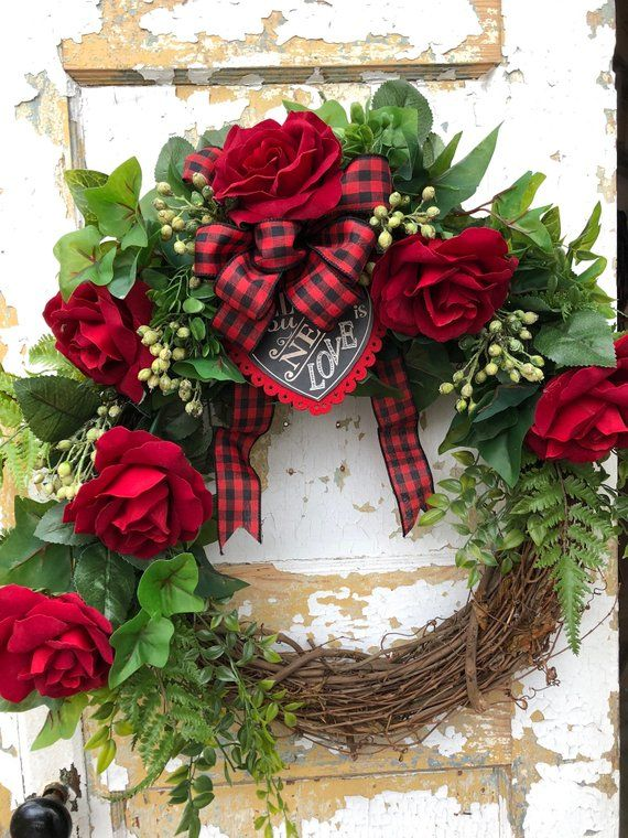 Valentine S Day Wreath Red Rose Wreath Front Door Wreath Red Rose Wreath Rose Wreath Valentine Day Wreaths