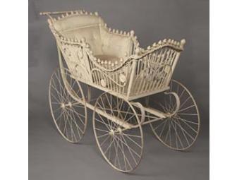 Vintage white wood, metal, and wicker baby pram - Online Fundraising Auction - BiddingForGood