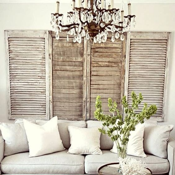 Like the rustic element of shutters on the wall, not sure it would work in dining room, maybe more living room / family room. Would look great with a green wreath!