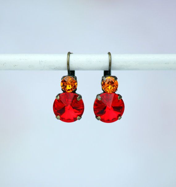 Red Rivoli Earring Siam Swarovski Earring by FrenchAtticDesign