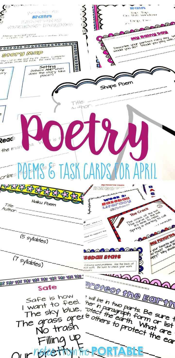 Get ready for poetry month with this poetry literacy center.  Learners will read and write poems about baseball, Earth Day, flowers and rain!  My students fell in love with poetry!