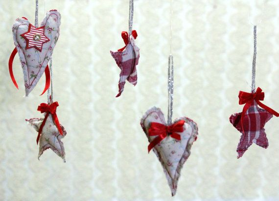 Sewn Shabby Stars and Hearts Christmas Rustic Home by MKrisArt