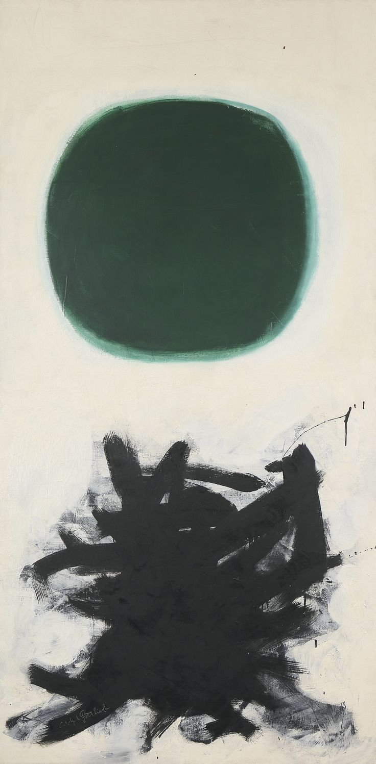Adolph Gottlieb 1903 - 1974 BLAST II signed oil on canvas 90 1/8 by 45 1/8 in. 228.9 by 114.6 cm. Executed in 1957.