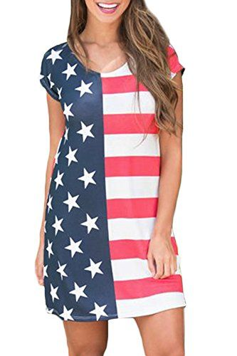 8e5ea493ac For G and PL Women s July 4th American Flag Swing Star Sundress Striped  Loose - patriotic dress women   Show how proud you are of our beautiful  country with ...