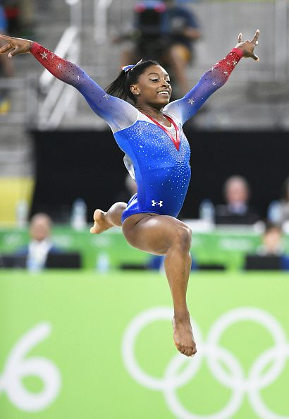 US gymnast Simone Biles performs in the women's floor exercise final at the Rio…