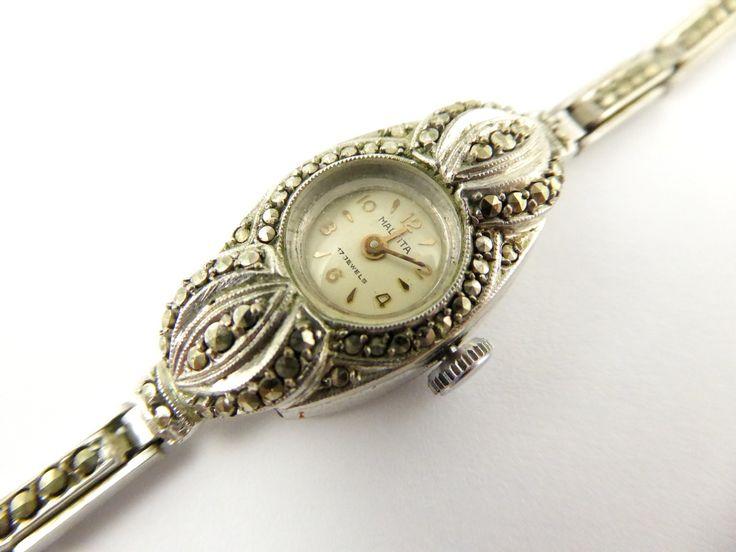 Vintage 1930s Art Deco Marcasite Malvita Mechanical Cocktail Watch - The Collectors Bag