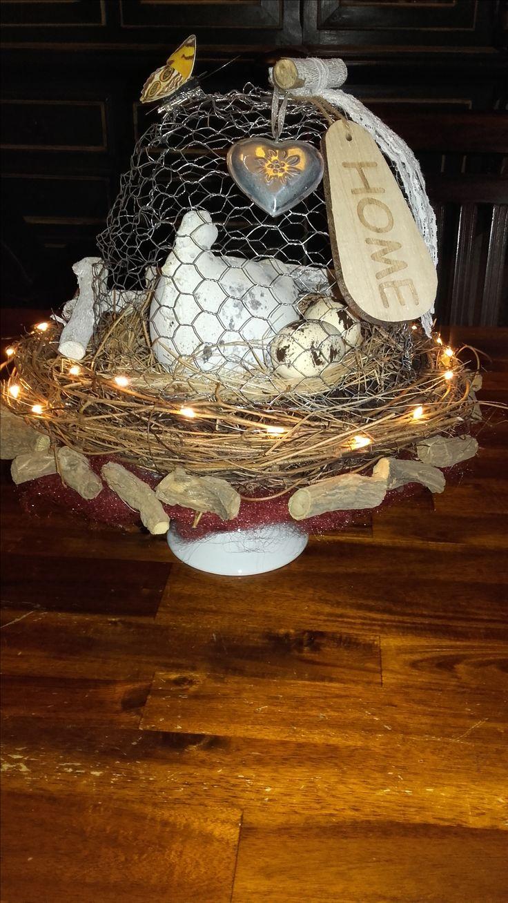 Voor Pasen een kip onder de stolp van gaas, lijkt erg gezellig.