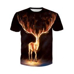 SHARE & Get it FREE   Round Neck 3D Flame Elk Print Short Sleeve T-Shirt For MenFor Fashion Lovers only:80,000+ Items • FREE SHIPPING Join Twinkledeals: Get YOUR $50 NOW!