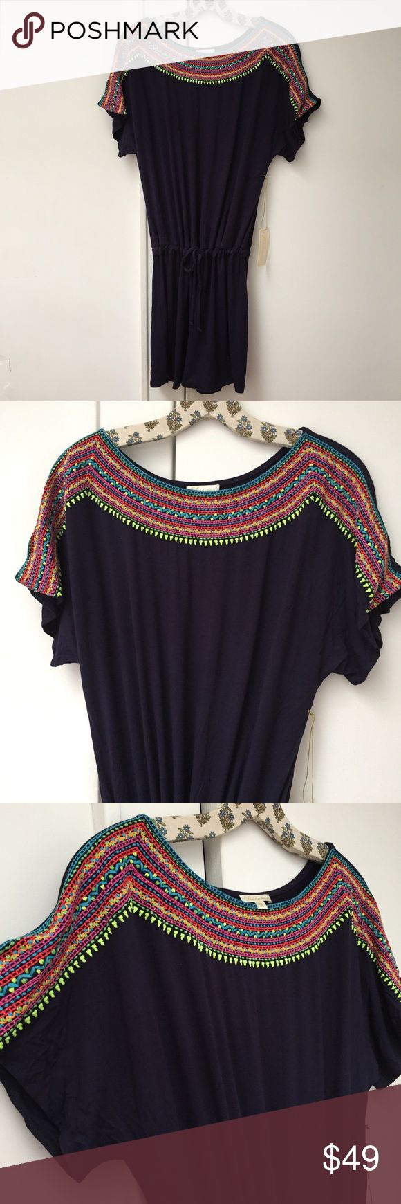 Free People Mara Hoffman Embroidered Jersey Tunic BRAND NEW WITH TAGS. Beautiful Embroidered deep navy jersey tunic. This style is a beach cover up, but the jersey is nice and thick and can be worn everyday as a tunic dress. Features a beautiful geometric embroidery at the neckline, short dolman sleeves, and drawstring waistband. Dress is unlined. Size M. Dress is by Shoshanna, but looks very much like a free People or Mara Hoffman dress. Free People Dresses Mini