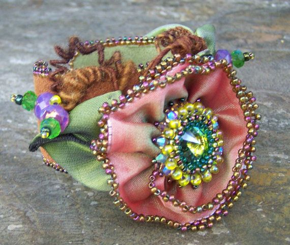 JUST UPDATED Bead Pattern Wired Ribbon Flower Girl Cuff