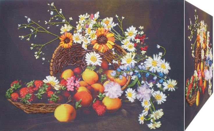 FLOWERS AND FRUITS 3D Ribbon embroidery on printed canvas with back woodden frame size: cm. 49x35 Price: € 140,00 $ code: P016