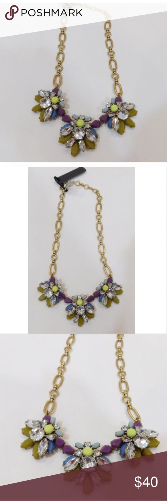 J Crew Women's Statement Floral Necklace Crystal NWT J Crew Statement Floral Necklace  Color: Purple, Yellow, Blue, Clear Crystals   Description:   Classic style statement necklace with crystals and colorful stones. Pair with your favorite dressy dress or do something a little more fun and wear with a t-shirt. Always takes your outfit up a notch! J Crew Jewelry Necklaces