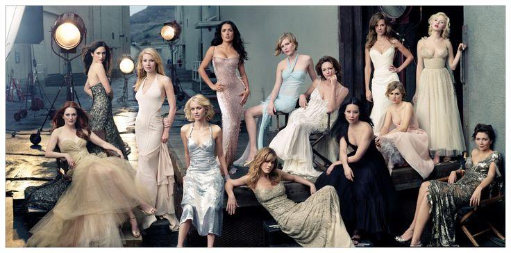 (left to right) Hollywood actresses Julianne MOORE, Jennifer CONNELLY, Gwyneth PALTROW, Naomi WATTS, Salma HAYEK, Jennifer ANISTON, Kirsten DUNST, Diane LANE, Lucy LIU, Hilary SWANK, Alison LOHMAN, Scarlett JOHANSSON, and Maggie GYLLENHAAL, on Stage II of
