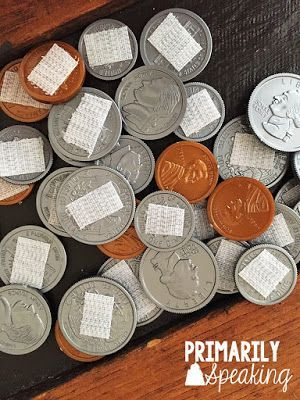 A Litttle Calendar DIY {Monday Made It} Add velcro to realistic plastic coins and use during calendar time