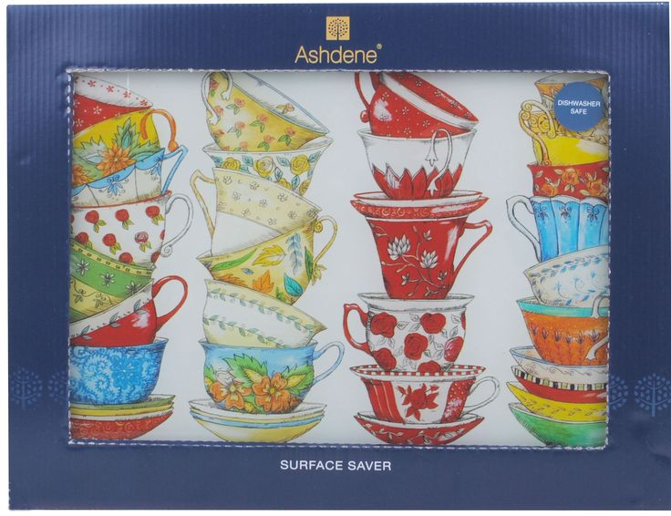 Teacups Tea Cups Glass Cutting Chopping Board from Sarah J Home Decor. $17.95