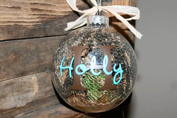 Country Camo Burlap Filled Custom Ornaments by BackFortyAcres