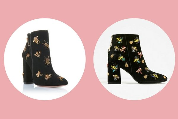Aquazurra Fauna bootie 105 (€1095 ) vs. Zara beaded velvet ankle boots (€129)