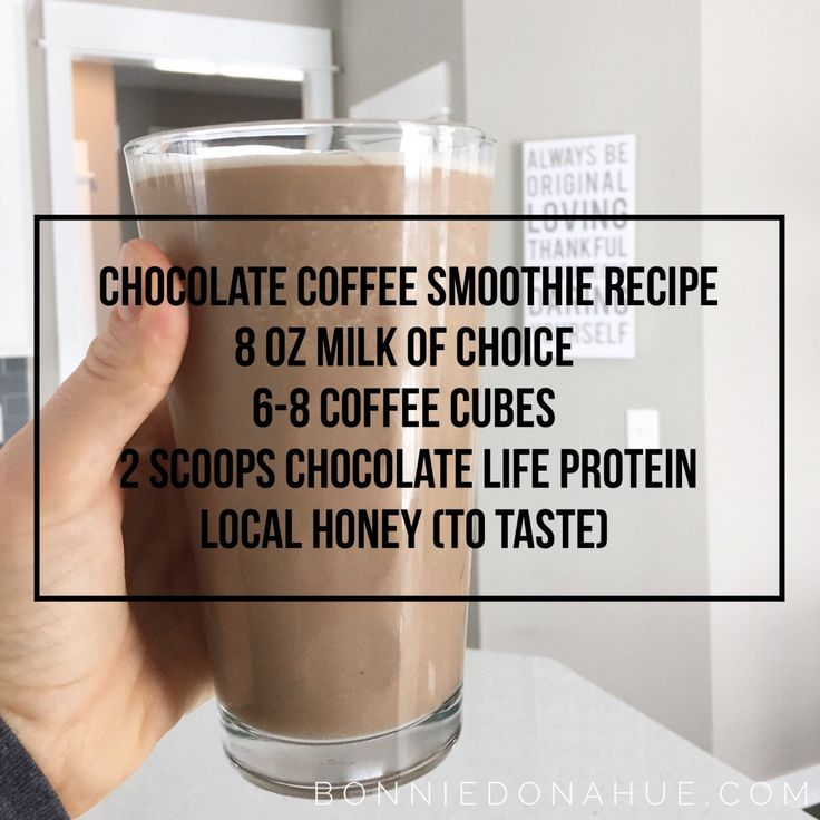 Chocolate Coffee Smoothie Recipe☕️ 8 oz milk of choice (I used water though)  6-8 coffee cubes (I make these with leftover coffee)  2 scoops chocolate life protein  local honey (to taste)     Blend. Pour. Enjoy.