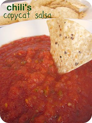 Chili's Copycat Salsa Recipe (toms, jalapeños, onion, garlic, salt, cumin, sugar, lime)
