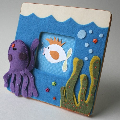 Octopus Sea Life Picture Frame Art for Nursery or Kids. $45.00, via Etsy.