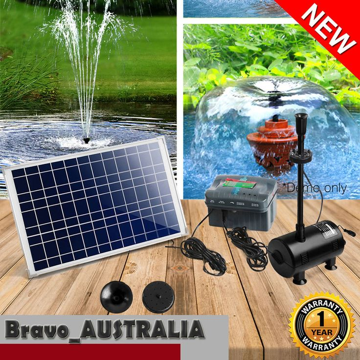 20W Solar Powered Fountain Submersible Water Pump with Battery Pond Kit Garden