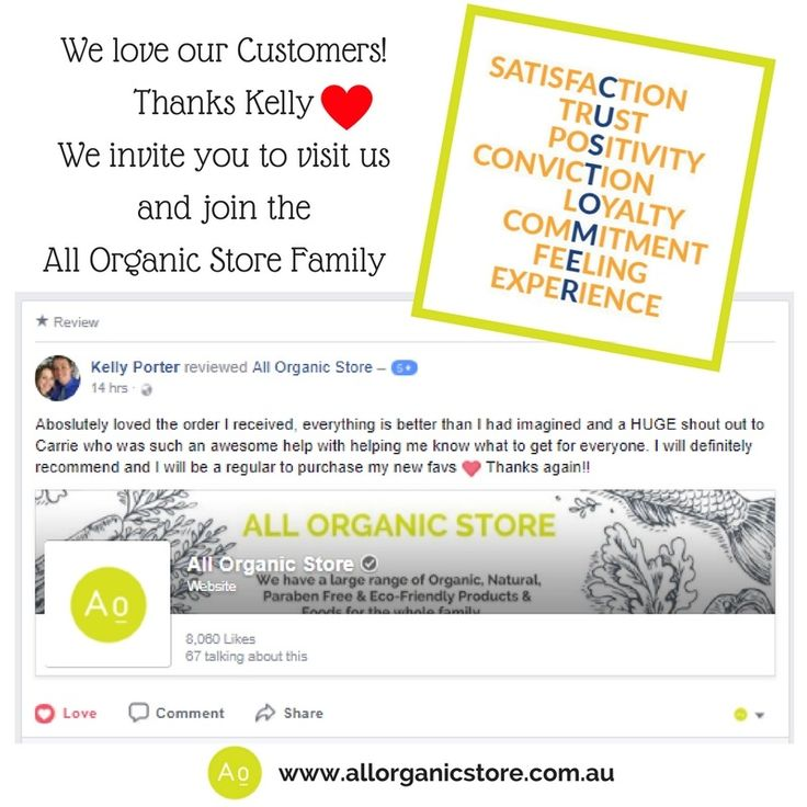 You are important to us! Come experience the All Organic Store life. We make shopping easy for you.  A one stop shop for organic, natural, paraben free, eco-friendly, gluten, vegan, wellness and safe baby care products and foods for the whole family. Free Shipping for orders over $100.