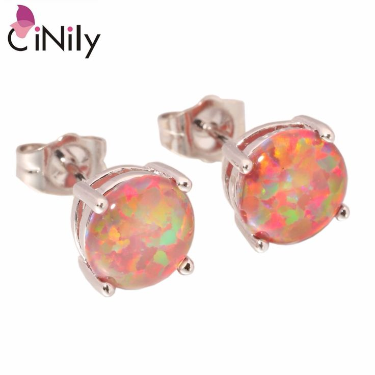 CiNily Created Orange Fire Opal 8mm Silver Plated Earrings Wholesale Fashion for Women Jewelry Stud Earrings 8mm OH1433 //Price: $17.16 & FREE Shipping //     #hashtag4
