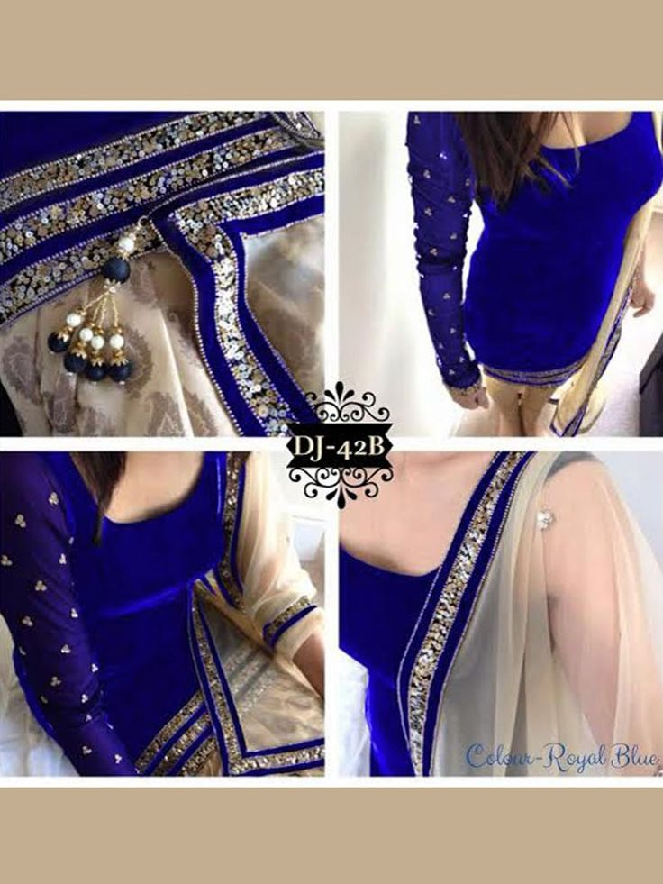 Royal Blue Color Bollywood Replica Designer Party Wear Suit in Velvet