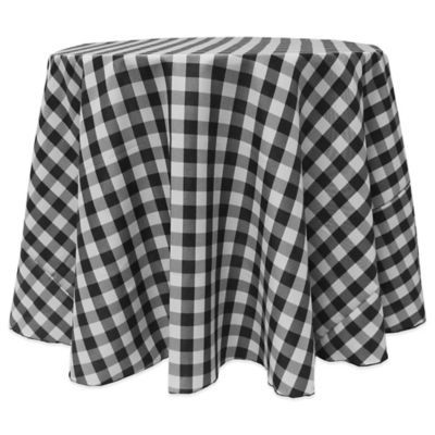 Buy Gingham Poly Check 90 Inch Round Tablecloth In Red/White From Bed Bath