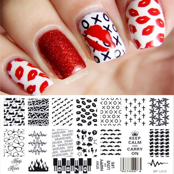 Classic Lip Cross Pattern Nail Art Stamp Template