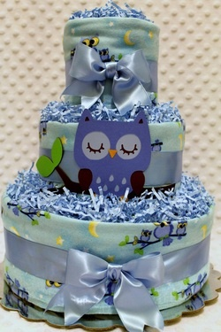 Blue Owls Baby Diaper Cake Shower Gift or Centerpiece