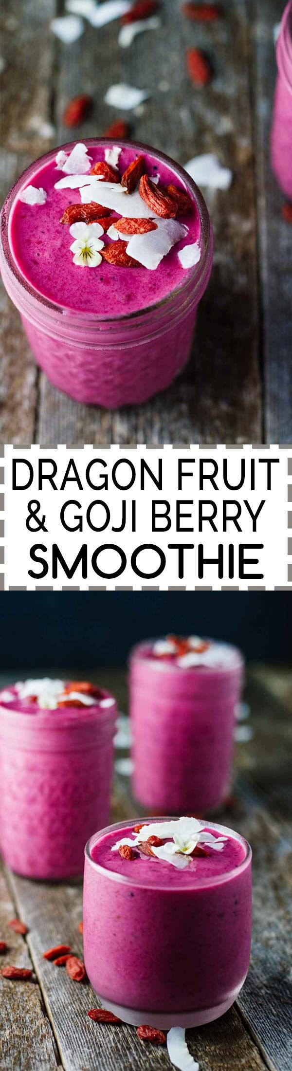 Dragon Fruit & Goji Berry Smoothie! This recipe is on www.JarOfLemons.com and is Vegan, Gluten-Free, Dairy-Free, and Refined Sugar Free. Click through for more post-workout recovery options and a @Thermos Shaker Bottle giveaway!