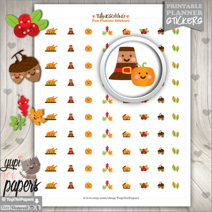 Thanksgiving Stickers, Printable Planner Stickers, Planner Stickers, Kawaii Stickers, Planner Accessories, Thanksgiving Planner, Cute DIY