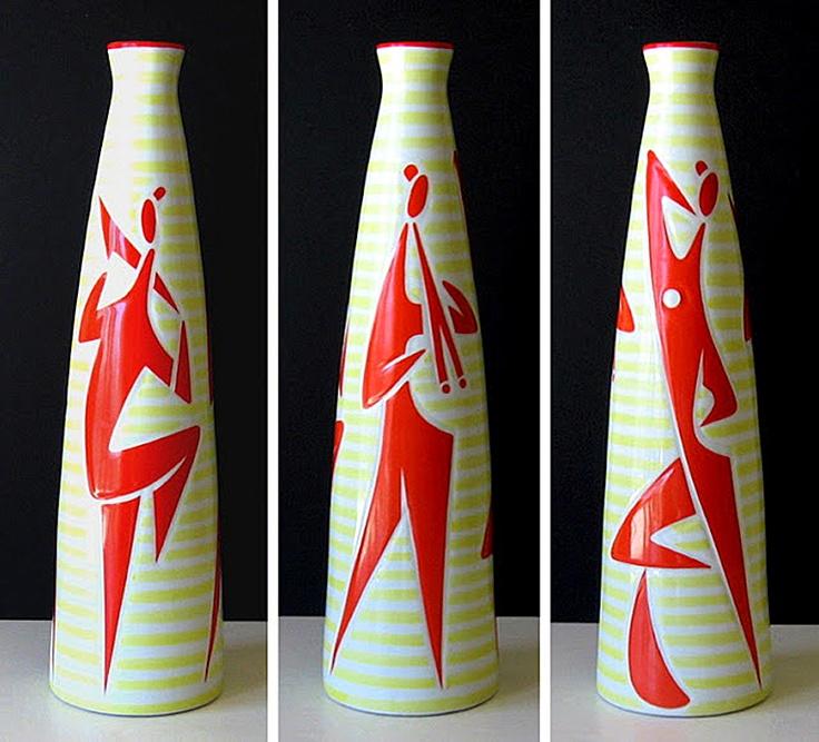 Zsolany jazz motif vases by János Török, c. 1960's