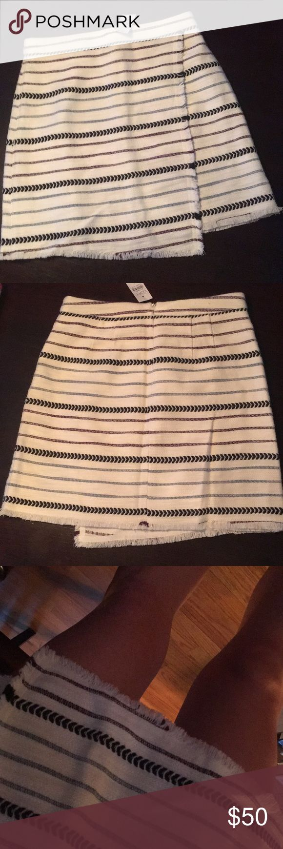 BRAND NEW, with tags, LOFT skirt, size 0 LOFT skirt - Cotton/polyester with side zip - stripe colors incl. plum, navy blue, baby blue - size 0 (runs a size big) - BRAND NEW, never worn LOFT Skirts