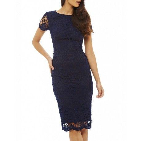 Granatowa koronkowa sukienka ołówkowa midi z krótkim rękawkiem