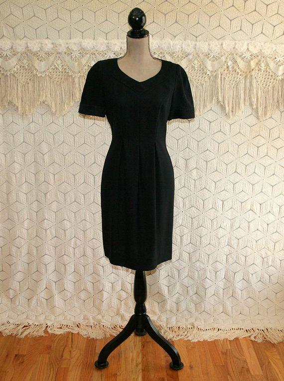 80s Classic Black Dress Petite Minimalist Short Sleeve Midi