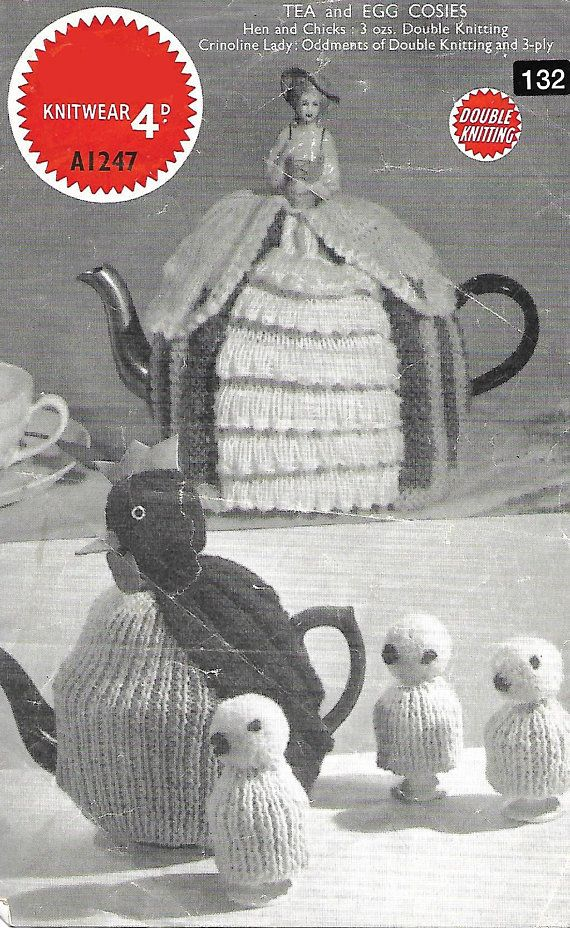 PDF knitting patterns 1940s tea and egg cosies hen teas cosy ...