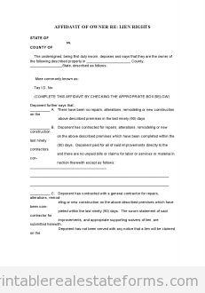 Free AFFIDAVIT OF OWnership Printable Real Estate Document