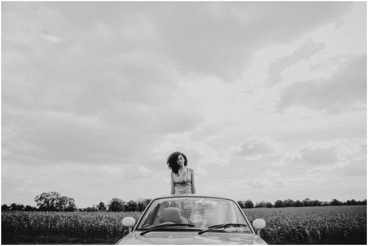 Alternative Wedding Photography   Stylish   bride in car   quirky   unique   bride portraiture   portraits