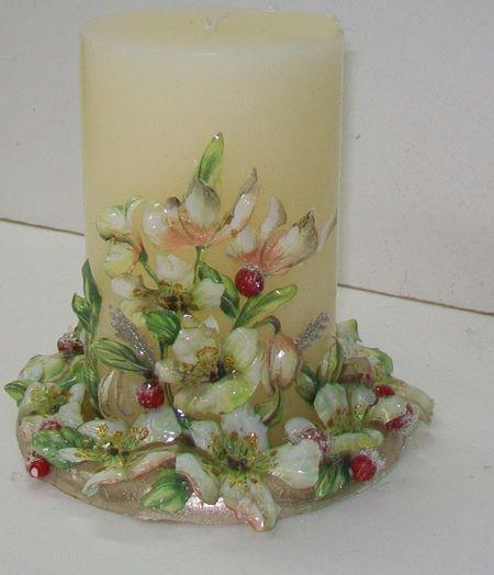 Vela de navidad con sospeso trasparente velas decoradas pinterest velas velas decoradas y - Velas decoradas para navidad ...