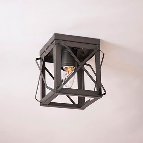 Single Ceiling Light with Folded Bars--No Glass--In 3 Color Choices