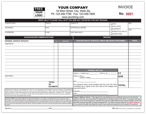 11 best Custom Print for Plumbing Services images on Pinterest - personalized invoices