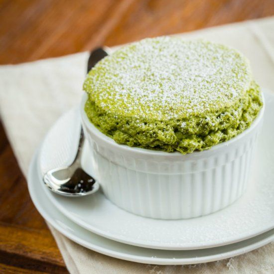 Fluffy and heavenly souffle accented with matcha powder dusted with powder sugar, simply irresistible.