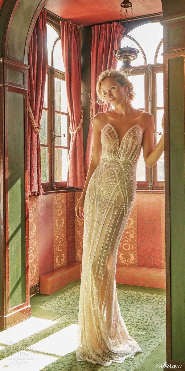 solo merav wedding dresses 2016 glamorous beaded sheath bridal gown art deco weddings izabella